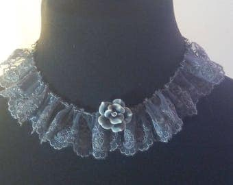 Lace necklace with gray rose