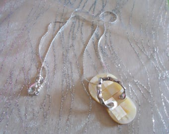 """Pendant """"sandal"""" yellow abalone (yellow shell)"""