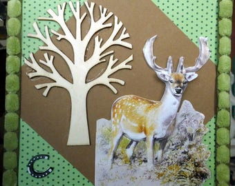 Suede Brown tree amid 3D card