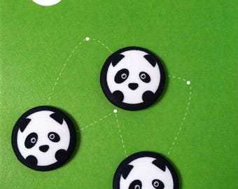 Button covered with panda print cotton fabric Zanies, 20 mm