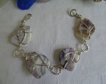 wampum shell bracelet wrapped in sterling silver with sterling silver connectors