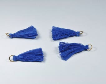 BR895 - Set of 4 blue and gold tassel charms