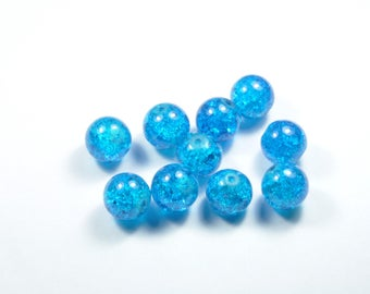 PE369 - Set of 10 12mm blue Crackle glass beads