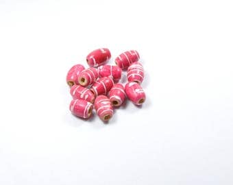 PE235 - Set of 12 pink and white wooden beads