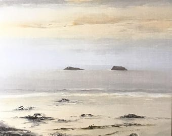 The Holms Islands, Bristol Channel - Greetings Card Blank For Your Own Message