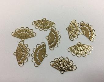 10 prints fine fans 13x21mm Golden jewellery designs