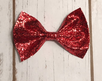Fire Engine Red Chunky Glitter Bow