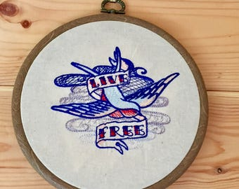 Live Free, old school tattoo swallow embroidery art in 6 inch wood effect frame