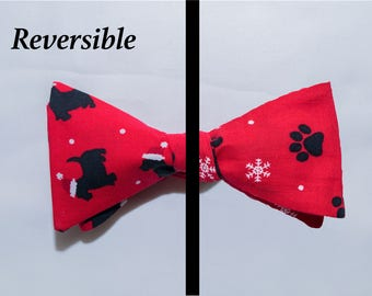Scotty dog/Paws Reversible Self-tie Bow Tie