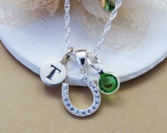 Bridal Horseshoe Necklace, Personalized Bridesmaid Necklace, Sterling Silver Horseshoe Necklace,  Initial Birthstone