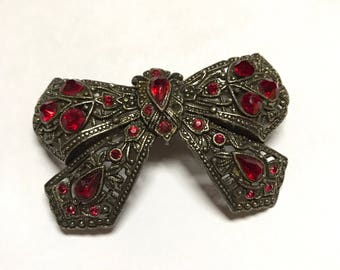 Red Stone Butterfly Vintage Brooch