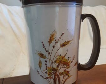 Vintage Thermo-Serv Insulated Cup Thermal Pitcher Brown Wheat 1980