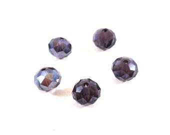 Set of 10 faceted purple synthetic (Ref.101)
