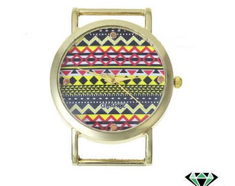 Multicolored gold round watch face