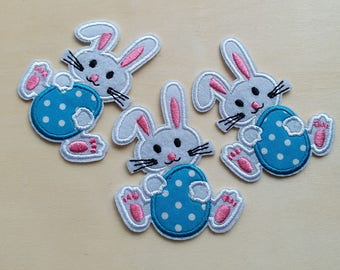 A dozen - 12pcs - Easter egg bunny rabbit Embroidered Iron on Patch Applique machine embroidery