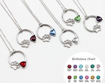 Dog Claw and Love Birthstone Necklace