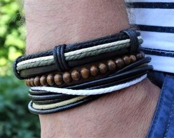 Mens hemp bracelet mens boho bracelet mens hippie bracelet mens beaded bracelet mens wrap bracelet vegan bracelet mens gift for boyfriend