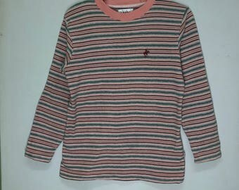 Rare!!! Beverly Hills Polo Club Pullover Small Logo Spellout Embroidered Stripes