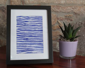 A5 linocut decoration - pattern stripes - blue