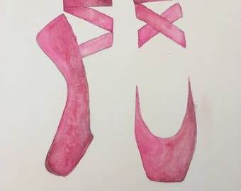 Pointe Shoes Watercolor