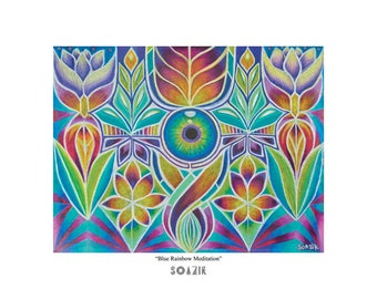 "Art Print - ""Blue Rainbow Meditation"" by Soazik - Limited Edition, Numbered, Signed by Artist"