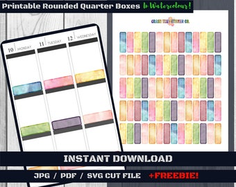 Watercolour Quarter Boxes · Rounded Style · Instant Digital Download · Printable Planner Stickers · Erin Condren Vertical/Horizontal Layout