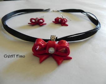 Red Bow set made with polymer clay