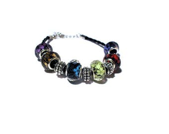 Bracelet European beads multicolor floral design