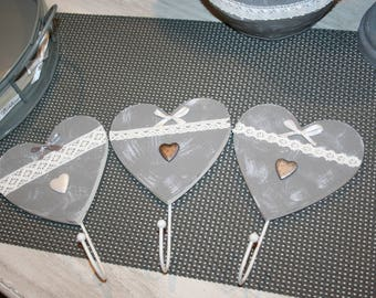 3 hooks for hanging towels shabby white-leaded grey and white lace and heart