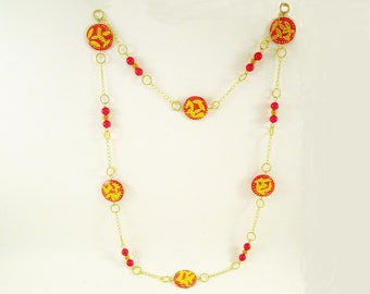 Mother of Pearl hand painted red, gold long necklace