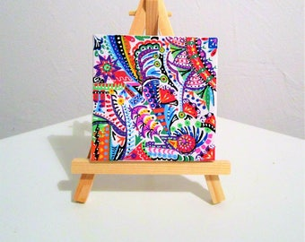 Painting abstract painting, painting, painting baby (or adult) room deco psychedelic, multicolor, miniature