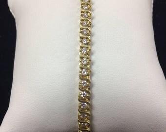 14K Yellow Gold Diamond Tennis Bracelet #HB156