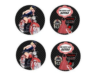 12mm, 4 cabochons dress and motorcycle (retro)