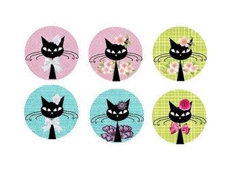 6 cabochons cat, 20 mm