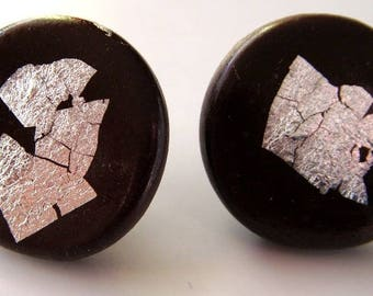 unique 'chips' chocolate earrings with real silver foil