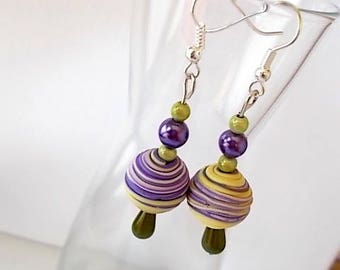 unique, lightweight earrings, made in France, Moe jewelry, purple, green, pale yellow