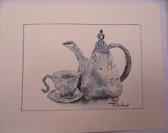 original watercolor painting: the blue tea set