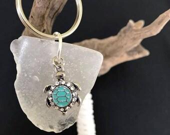 Sea Glass Key chain   Sea Turtle