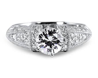 Trilliance Engraved Round 6 Prong Moissanite Ring