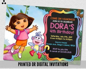Dora The Explorer Invitation, Dora The Explorer Invite, Dora Invitation, Dora Invite, Chalkboard, Boots, Physical Invite, Digital, 3DS-024