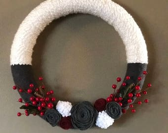 Charcoal grey and white holiday wreath