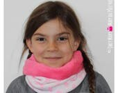 Snood enfant fille cactus rose fluo blanc flashy jersey polaire doudou extensible réversible