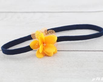 Headband child headband Navy Blue and yellow #1102