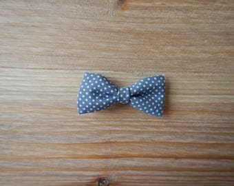 Hair bow gray polka dots