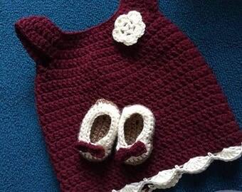 Baby girl crochet dress 0-3 mos