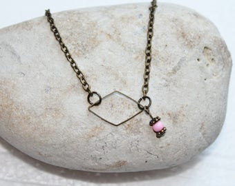 Pink short diamond metal and Pearl Necklace