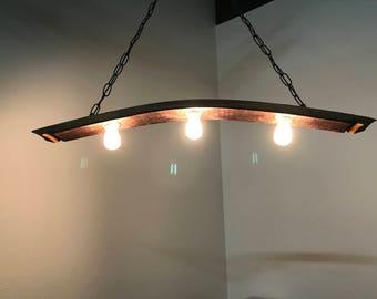 Wine Barrel stave hanging pendant lamp