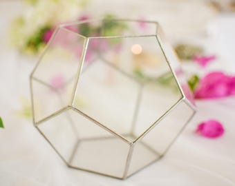 Glass Terrarium,Succulent Planter,Geometric Terrarium Container,Dodecahedron,Christmas gift,Table Centerpiece,Home Decor,Gift for her,Custom