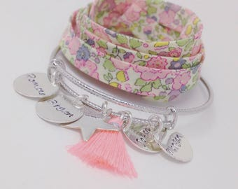 """Bangle personalized shimmering Silver """"SIMPLY"""" with 4 custom prints"""