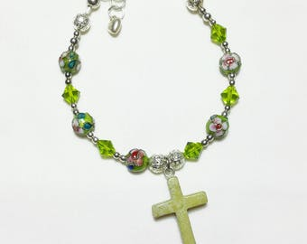 Peridot Crystal Cloisonne Rosary Bracelet Divine Mercy Chaplet